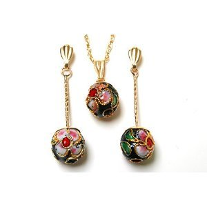 9ct Gold Oriental Black Enamel Ball Pendant and Earring set.