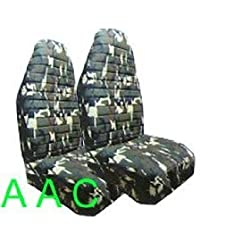 Set of 2 Universal-fit Camouflage Print Front Bucket Seat Cover - Military Green