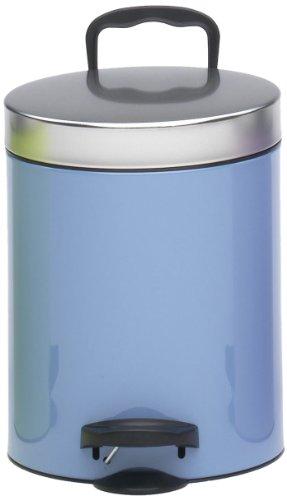 """Meliconi """"New Line Bicolor"""" Pattumiera Bagno Lt. 5 lusso, azzurro grigio (lamiera litografata con coperchio banda stagnata)"""