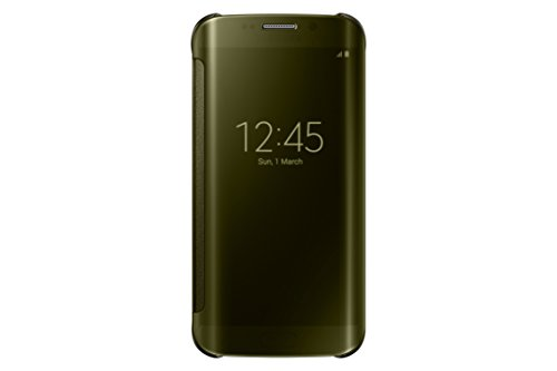 Samsung S-View Flip Cover for Samsung Galaxy S 6 Edge - Retail Packaging - Clear Gold/Gold