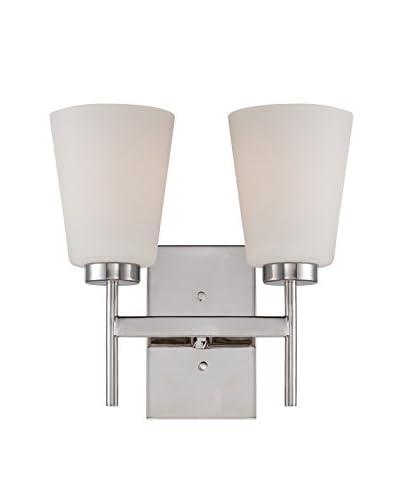 Nuvo Lighting Benson 2-Light Vanity & Wall Sconce, Polished Nickel/White