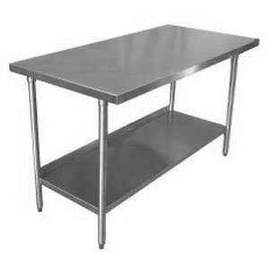 "18 Gauge Stainless Steel Commercial Work Table 24"" x 24"" with Galvanized Undershelf and Legs"
