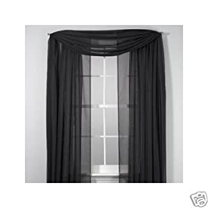 Two Sheer Curtain Panels And One Sheer Scarf Black 84 Inches Long Window