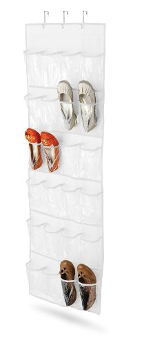 Honey-Can-Do Over The Door Clear Shoe Organizer/Storage Rack, White