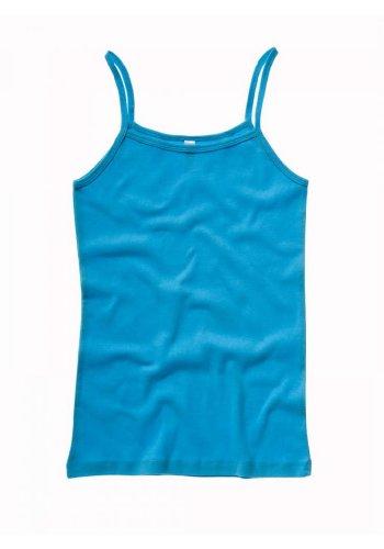Bella Ladies Spaghetti Strap Rib Tank Top in Turquoise - Medium