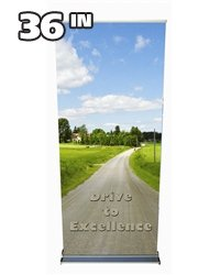 "36"" Premium Silver Retractable Banner Stand"
