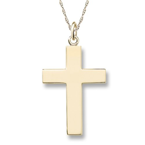 Men's 14k Yellow Gold Solid Large Polished Cross with Rope Chain Necklace, 20""