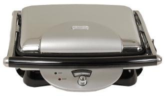 Delonghi Contact Grill and Panini Press Featuring Non-Stick Double-Sided Contact Cooking Plates, an Adjustable Thermostat, with Safe Cool Touch Handles, Convenient Storage with Upright Safety Locking System and Cord Wrap, BONUS Oil Drainage Cup Included