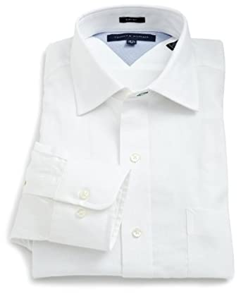 Tommy Hilfiger Men's Textured Slim Fit Solid Dress Shirt, White, 18.5 36-37