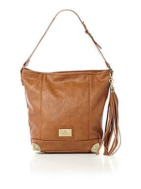 Juno Tasseled Bucket Tote Bag - Tan