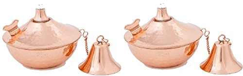 Small Maui Tabletop Oil Lamp, Tiki Torch, Set of 2 (Hammered Copper) (Copper Oil Lamp compare prices)