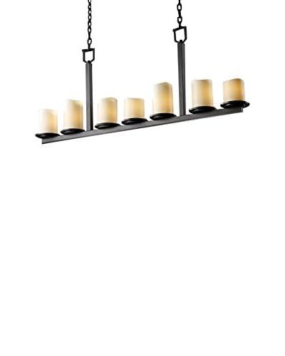 Justice Design Group CandleAria Dakota Chandelier, Dark Bronze/Cream, 7-Light