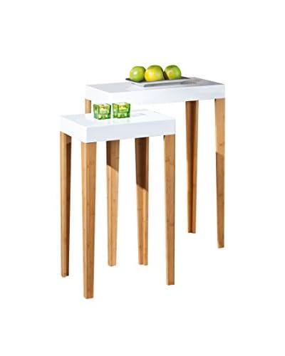 13 Casa  Set Tavolino 2 pezzi Links Bianco