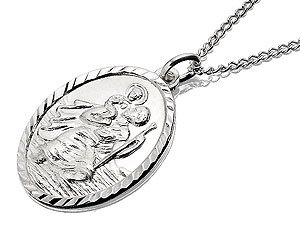 Silver Oval St. Christopher Pendant And Chain - 20mm