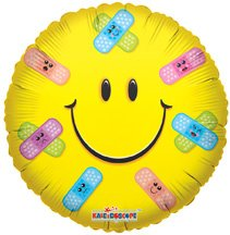 """Conver USA 19286-18SP Smiley Band Aids Packed Balloon, 18"""" - 1"""