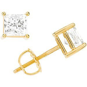 2 Ct 14k Yellow Gold Princess Cut Diamond Stud Earrings (2.00 Cttw, GH Color, I1 Clarity)
