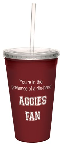 Tree-Free Greetings Cc34576 Aggies College Football Fan Artful Traveler Double-Walled Cool Cup With Reusable Straw, 16-Ounce front-343138