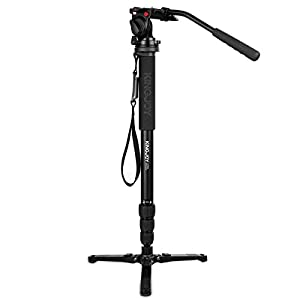 Kamisafe KINGJOY Professional Camera Video Photo Tripod Monopod with Fluid Drag Head for Canon Nikon Sony DSLR Camcorder
