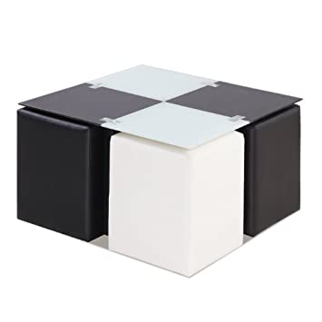 Global Furniture Clear/Black/White Occasional Coffee Table with Black Legs