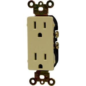 Ge 17804 Designer Collection Grounding Duplex Receptacle With Fast Easy Pressure-Lock Wiring, Ivory