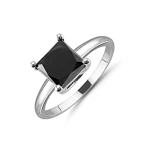 2.00ct Natural Treated Princess Shape Black Diamond Solitaire Ring in 14K White Gold.size 5