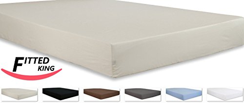 Cotton King Fitted Sheet Beige Premium Quality Combed