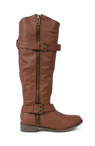 Breckelles Rider-22 Leatherette Knee High Buckle Riding Boot - Tan PU