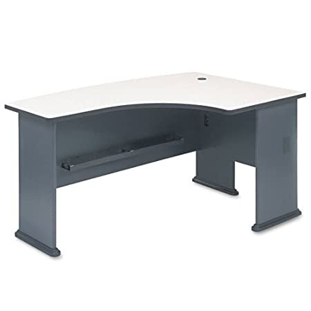 Bush Furniture Series A Right Corner L-Shape Bow Front Wood Desk in Slate