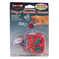 Our Pets Play n Squeak Christmas Gift Box Interactive Cat Toy