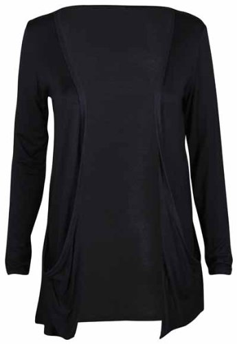 Ladies Plus Size Long Sleeve Stretch Pocket Open