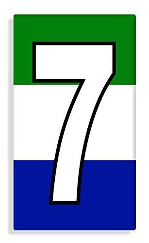 Sierra Leonean - Sierra Leone Flag Number 7 Sticker Self Adhesive / Aufkleber Für Wheelie Bin / Haustür / Mülltonne / Mülleimer - Anzahl wählen