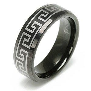 Metallic Laser Design Black Tungsten Carbide Wedding Band Ring - Size 10