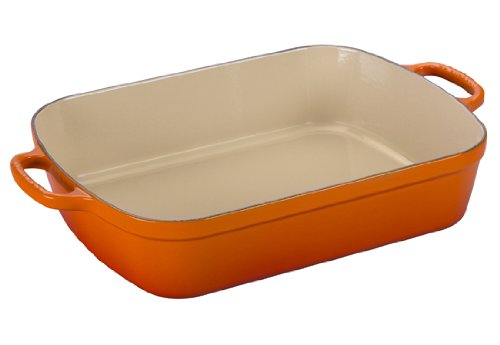 Le Creuset Signature Cast Iron Rectangular Roaster, 5.25-Quart, Flame (Le Cruset Roasting Pan compare prices)