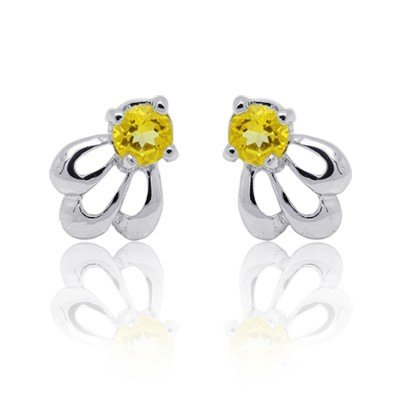 3mm Natural Gem luxury Citrine 925 Sterling Silver Earring stud Gift 003