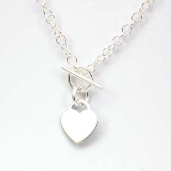The Olivia Collection Sterling Silver 18 Inch T-Bar Heart Necklace
