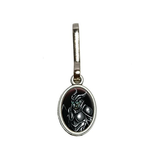 Knight Armor - Medieval Warrior Dragon Slayer Fantasy Antiqued Oval Charm Clothes Purse Luggage Backpack Zipper Pull