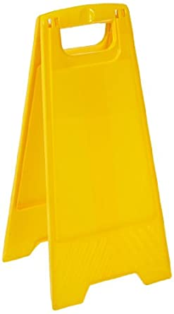 "Brady 104808 24-1/2"" Height, Yellow Color Polypropylene Heavy Duty Floor Stand, Legend ""Blank Yellow"""
