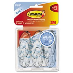 Command - Clear Hooks & Strips, Plastic, Medium - 6 Hooks &