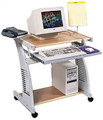 Buy Low Price Comfortable Luxor Metal , Wood Computer Workstation with Keyboard tray in Oak (B003LCP9U0)