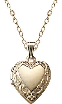 Children's 14k Gold Filled Heart Locket Pendant Necklace, 15