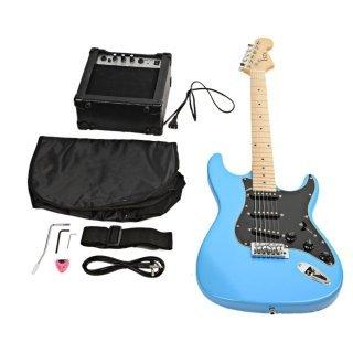Moppi Wählen Sie ST Black Pickguard Electric Guitar Blue mit Verstärker Bag Strap-Tool günstig kaufen