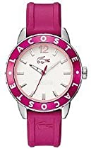Lacoste Rio White Dial Pink Rubber Ladies Watch 2000659