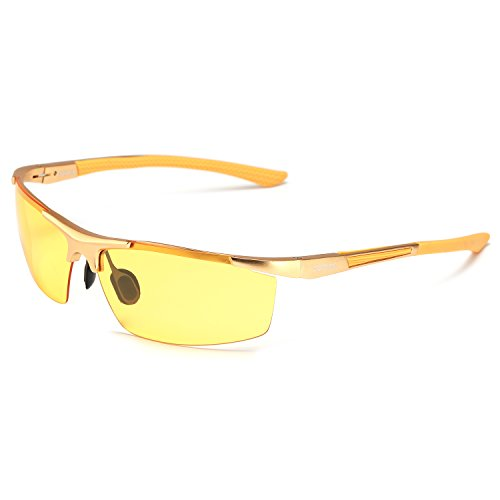 HD Night Driving Glasses Polarized Anti-glare Rain Day Night Vision Sunglasses (gold, yellow) (Mens Skiing Package compare prices)