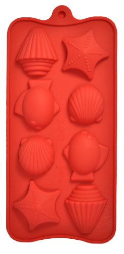 8 Cavity Bite-Size Seashell Silicone Candy and Chocolate Mold Pan (Fish, Shells and Starfish) Cavities are aprox. 1 1/2