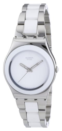 Swatch Ladies White Ceramic Stainless Steel Bracelet Watch
