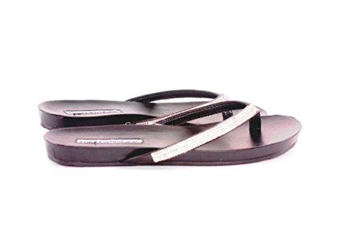 J191P Francescomilano sandalo donna stile infradito (40, Nero)