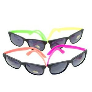picture 12 Pairs Neon 80's Wayfarer Sunglasses Kids Teen Party Favors
