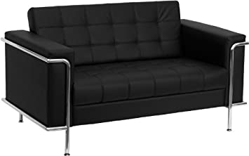 Offex Hercules Lesley Series Contemporary Leather Love Seat with Encasing Frame - Black