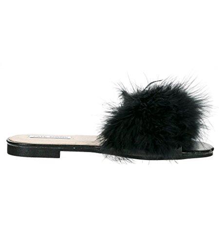 Cape Robbin Sandals-1 Women Flip Flop Fur Slide Slip On Flats Sandals Shoes Slippers Mule,Black,10