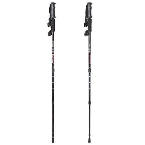 Agptek® Pair 2 Trekking Walking Hiking Stick Poles Alpenstock Adjustable Anti Shock - Black